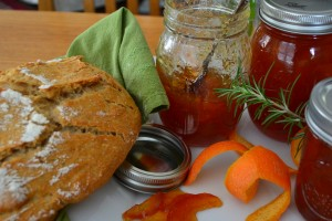 Organic spelt flour crusty loaf, with homemade Seville orange marmalade