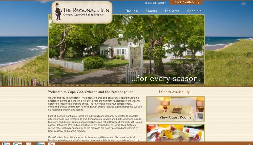 parsonage website screenshot